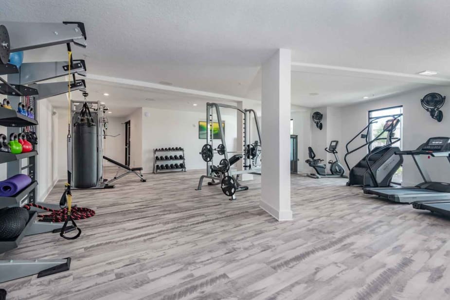Modern fitness center at The Jaxon in Jacksonville, Florida