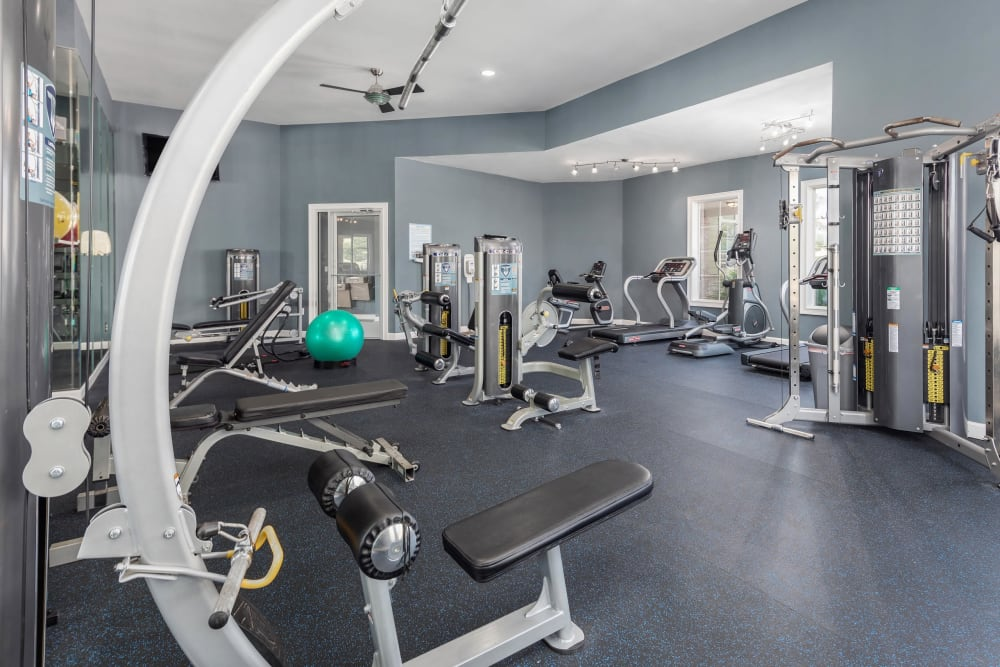 Well-equipped fitness center with terrific view of the community at Highlands at Alexander Pointe in Charlotte, North Carolina