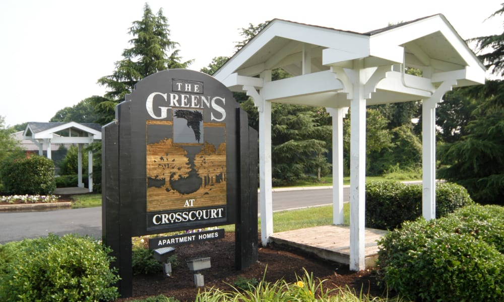 Signage of Greens at Cross Court in Easton, Maryland