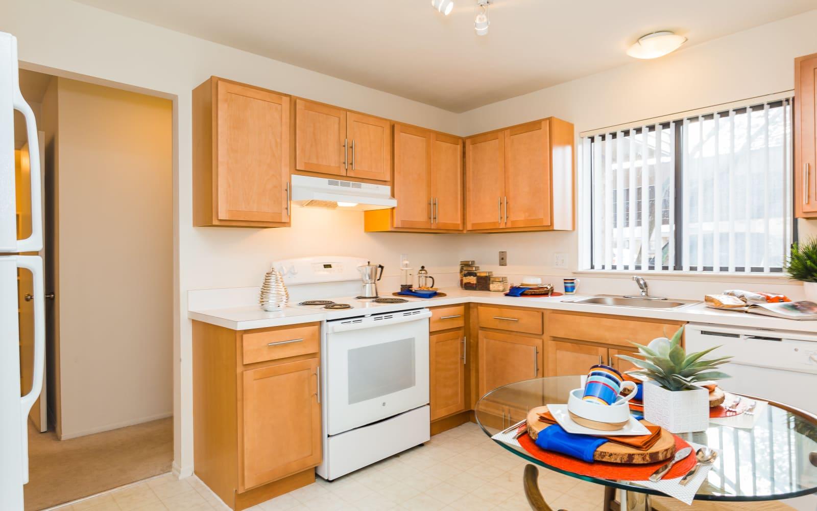 A view of the kitchen at Fairmont Park Apartments in Farmington Hills, Michigan