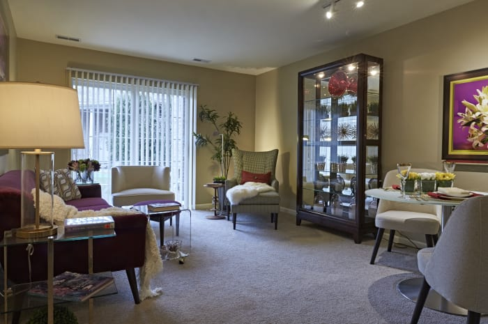 Beautiful living area at All Seasons of Rochester Hills in Rochester Hills, Michigan