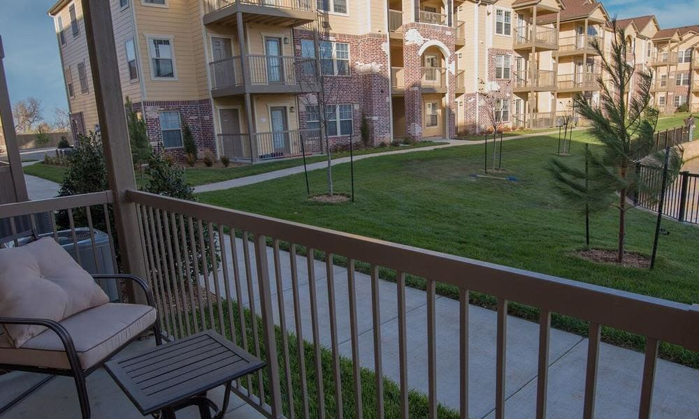 Private patio at Watercress Apartments in Maize, Kansas