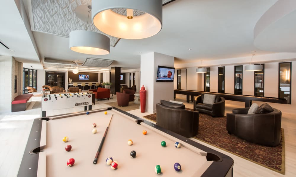Clubhouse with a pool table at Solaire 10914 Georgia in Silver Spring, Maryland