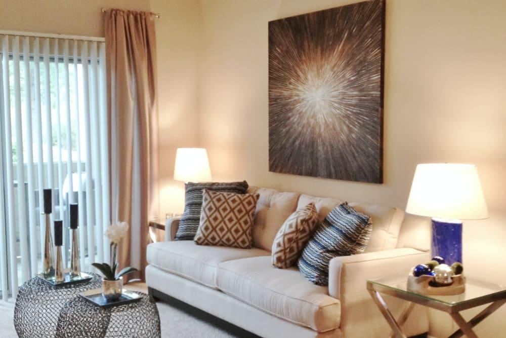 Model Living room at Preston View in Morrisville, North Carolina