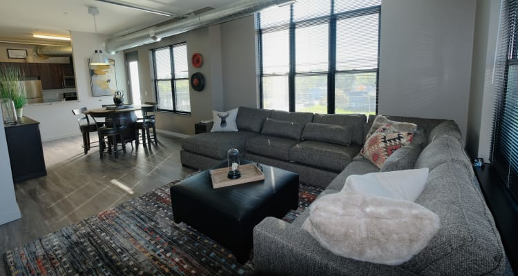 Gorgeous living room at Starkweather Lofts