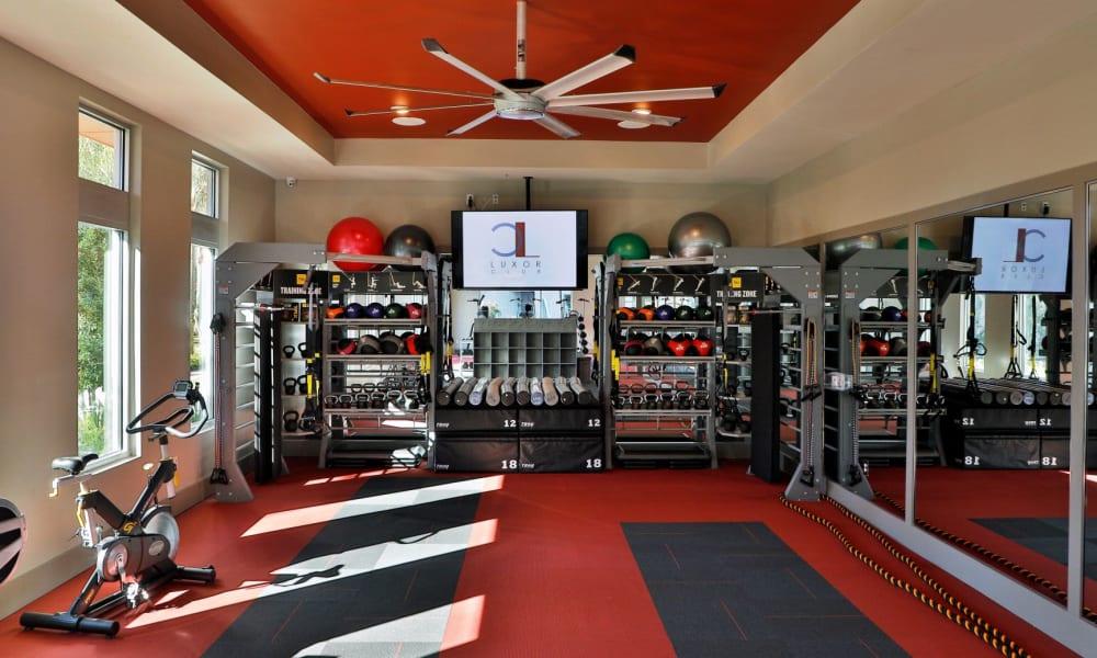 Full fitness center at Luxor Club in Jacksonville, Florida