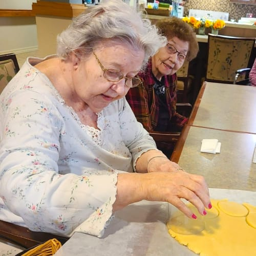 Resident making cookies at The Oxford Grand Assisted Living & Memory Care in Wichita, Kansas