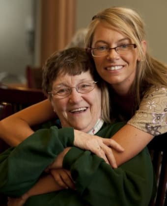 Care worker and resident at Meadowlark Senior Living in Lebanon, Oregon