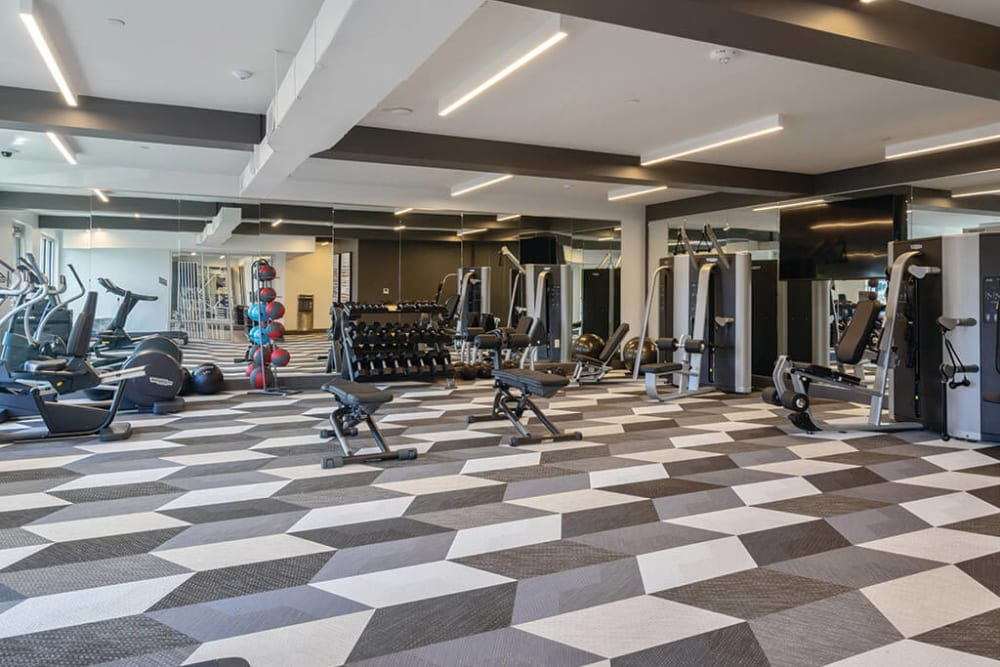 Well-equipped onsite fitness center at ArLo Apartments in Portland, Oregon