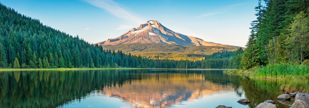 Mount Hood reflected in a lake near A Storage Place