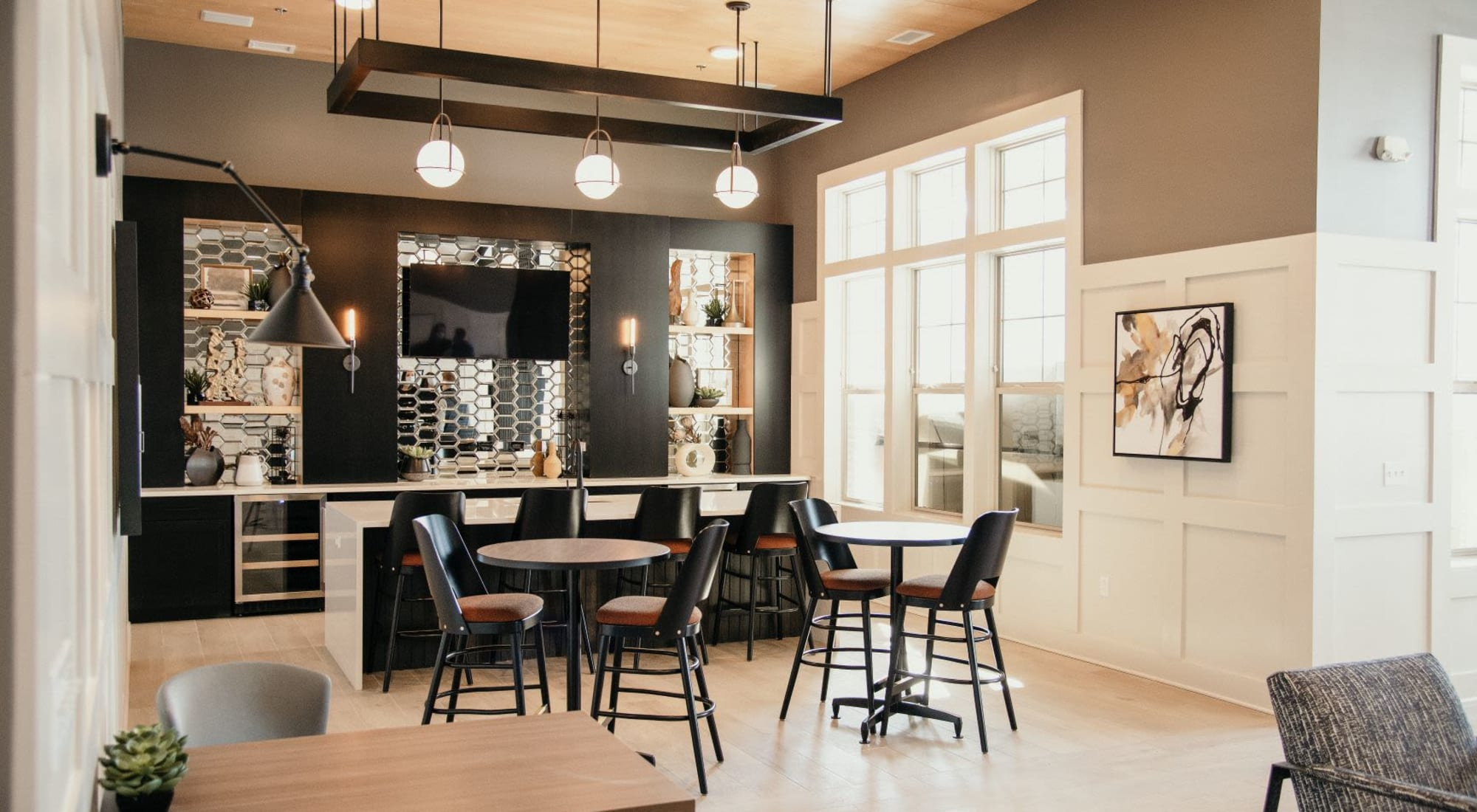 modern dining area at The 450 in Lombard, IL