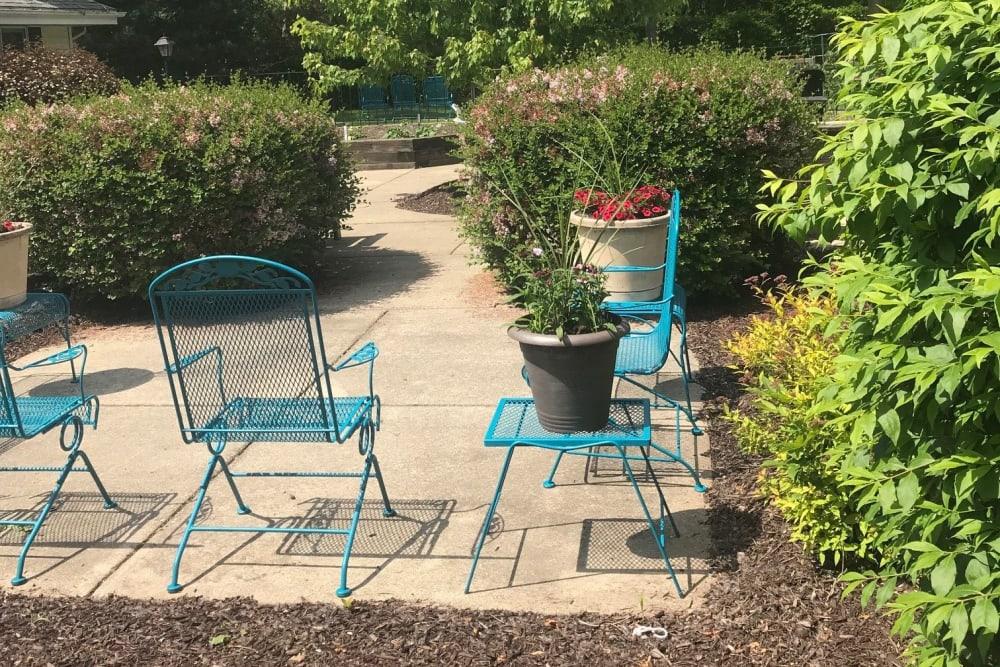Seating in courtyard garden at Ramsey Woods in Cudahy, Wisconsin.