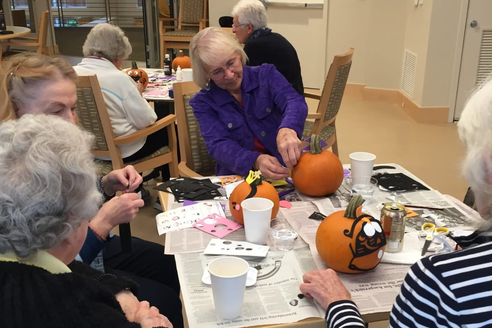 Pumpkin decorating at our senior living community in Ballard, WA
