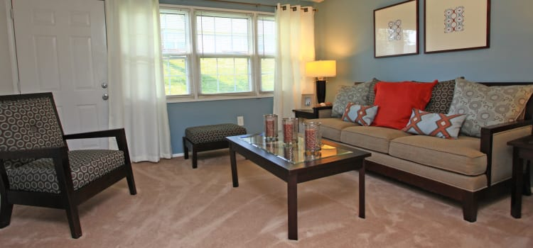 Cozy living room at Highland Village in Halethorpe, MD