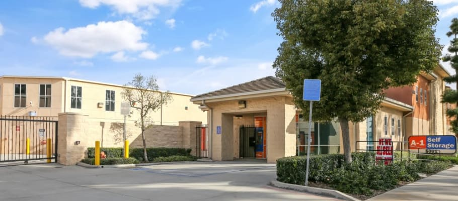 The entrance to A-1 Self Storage in Cypress, California