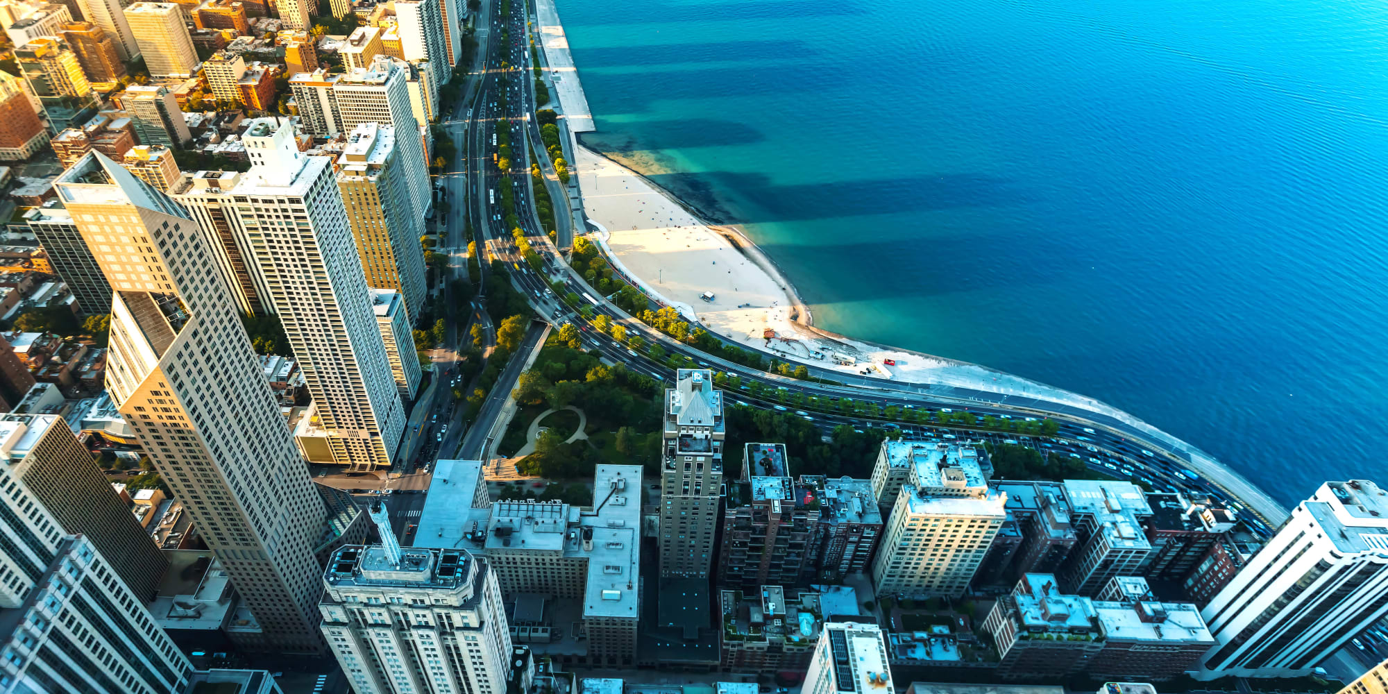 Aerial view of the city neighborhood near The Residences at NEWCITY in Chicago, Illinois