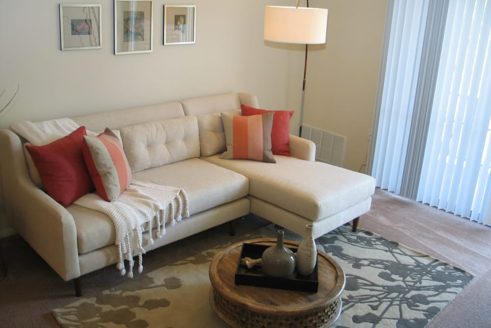 Enjoy a beautiful living room at Commons at White Marsh Apartments