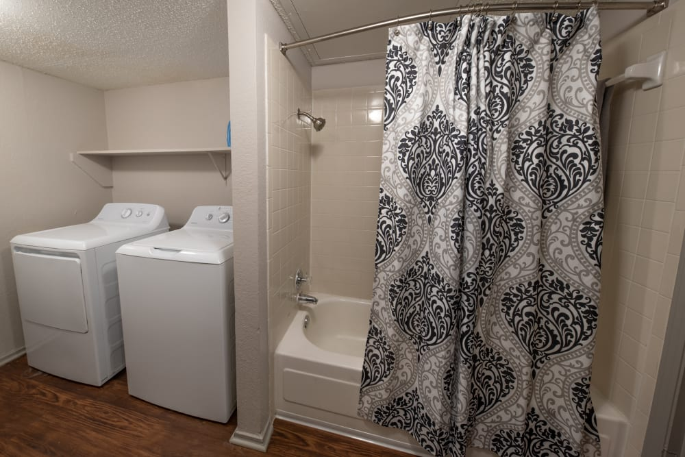 In-unit washers and dryers for residents at Trails of Towne Lake in Irving, Texas