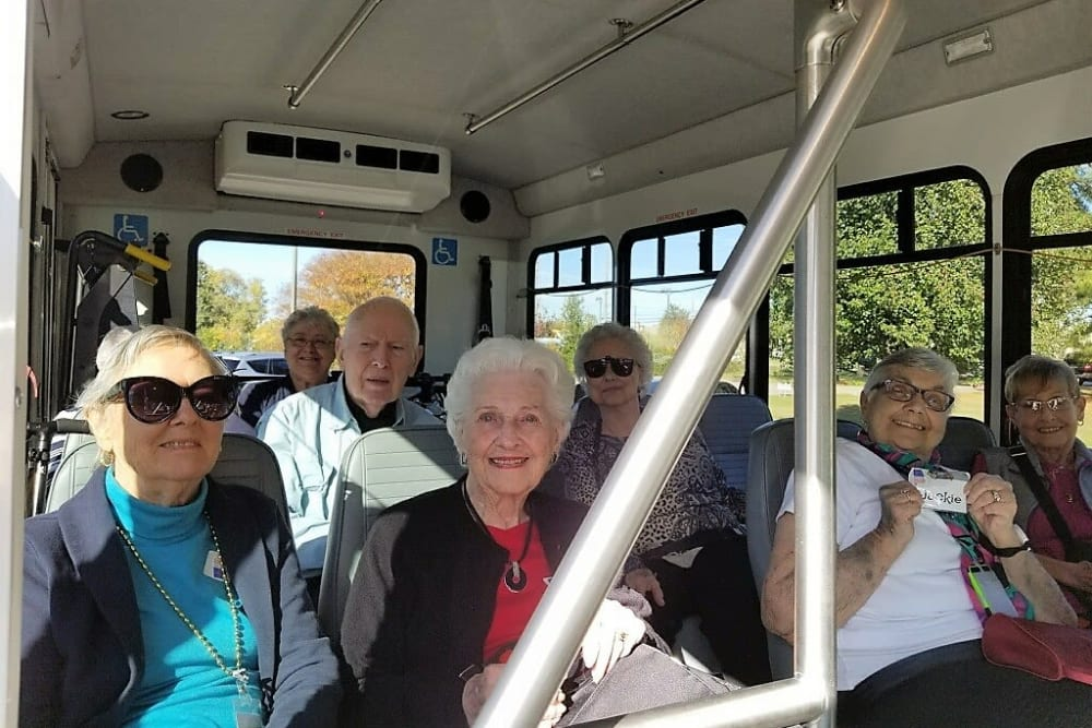 Residents on the bus to go vote near Merrill Gardens at Madison in Madison, Alabama.