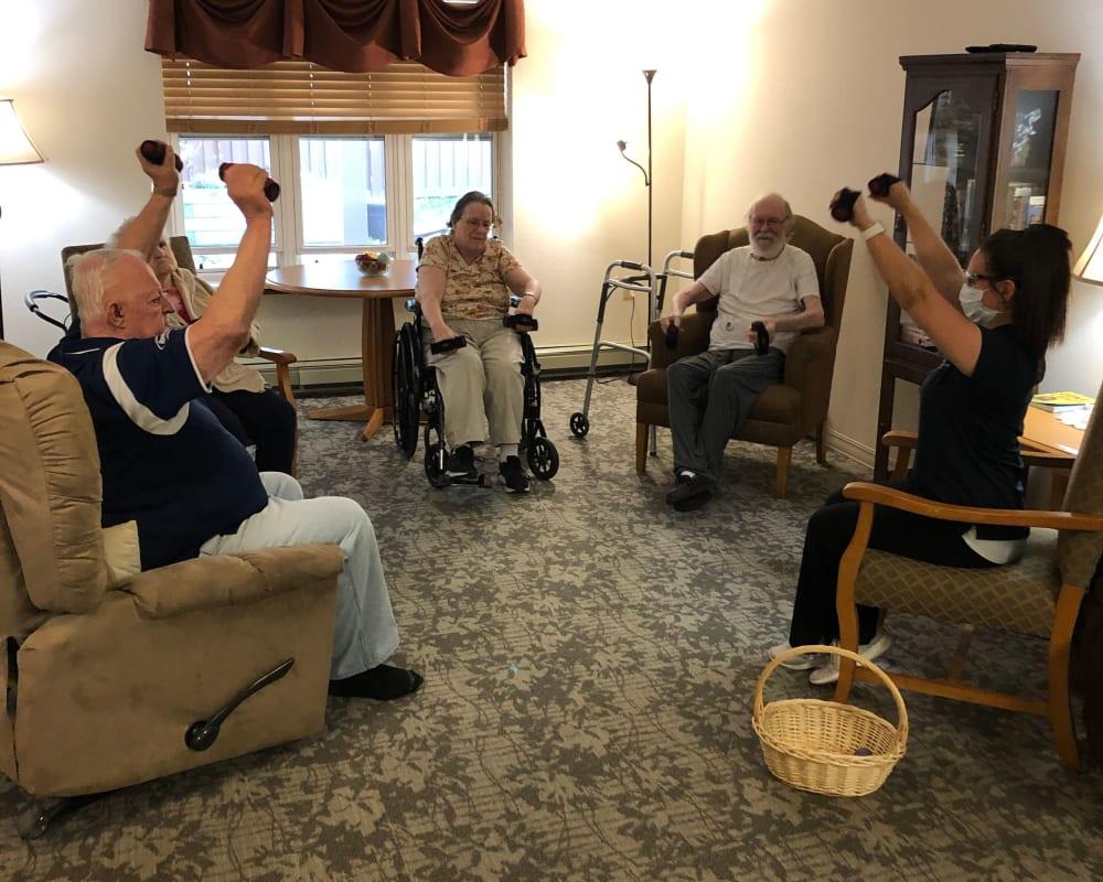 Residents participate in fitness groups at Landings of Sauk Rapids in Sauk Rapids, Minnesota.
