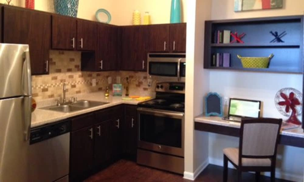 Fully equipped kitchen at Station at Mason Creek in Katy, Texas