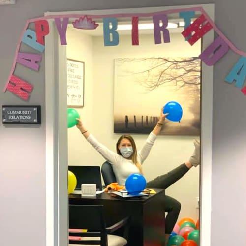Birthday decorations at Oxford Villa Active Senior Apartments in Wichita, Kansas