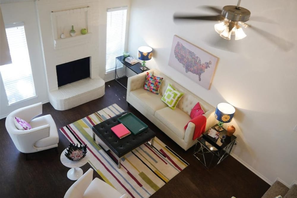 Model living room at The Park at Ashford in Arlington, Texas