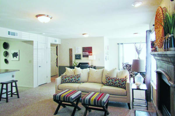 Spacious living room at Villas At Preston Lakes in Owasso, Oklahoma