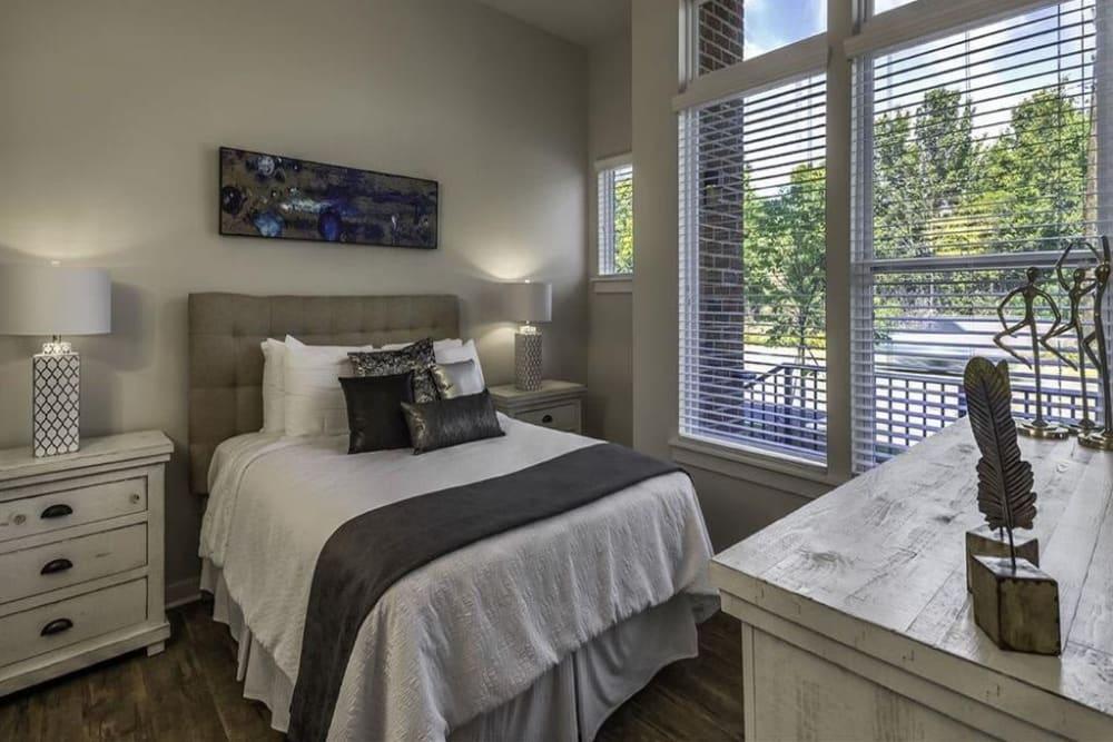 Model bedroom at 300 Optimist Park in Charlotte, North Carolina