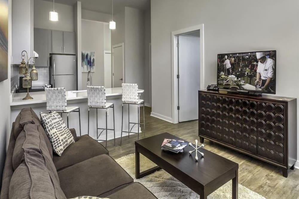 Large modern living room at 300 Optimist Park in Charlotte, North Carolina