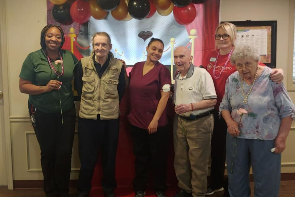 Residents and staff gathered for a photo at Brentwood at Hobart in Hobart, Indiana