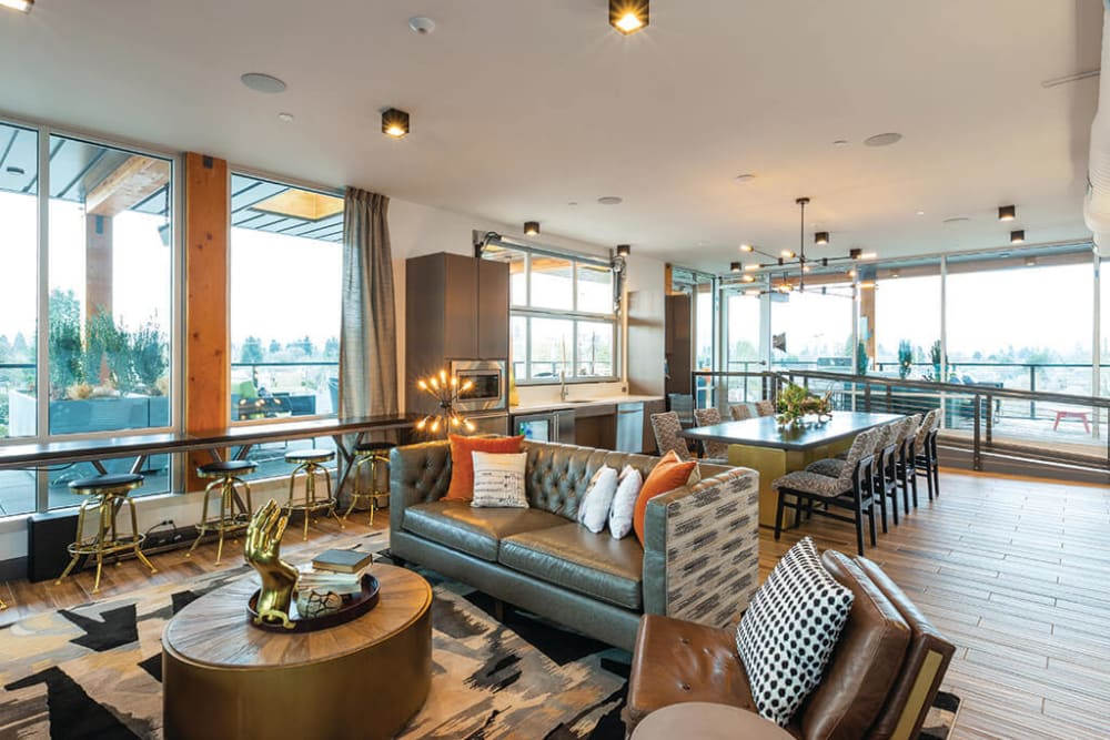 Lavishly decorated rooftop lounge interior at ArLo Apartments in Portland, Oregon