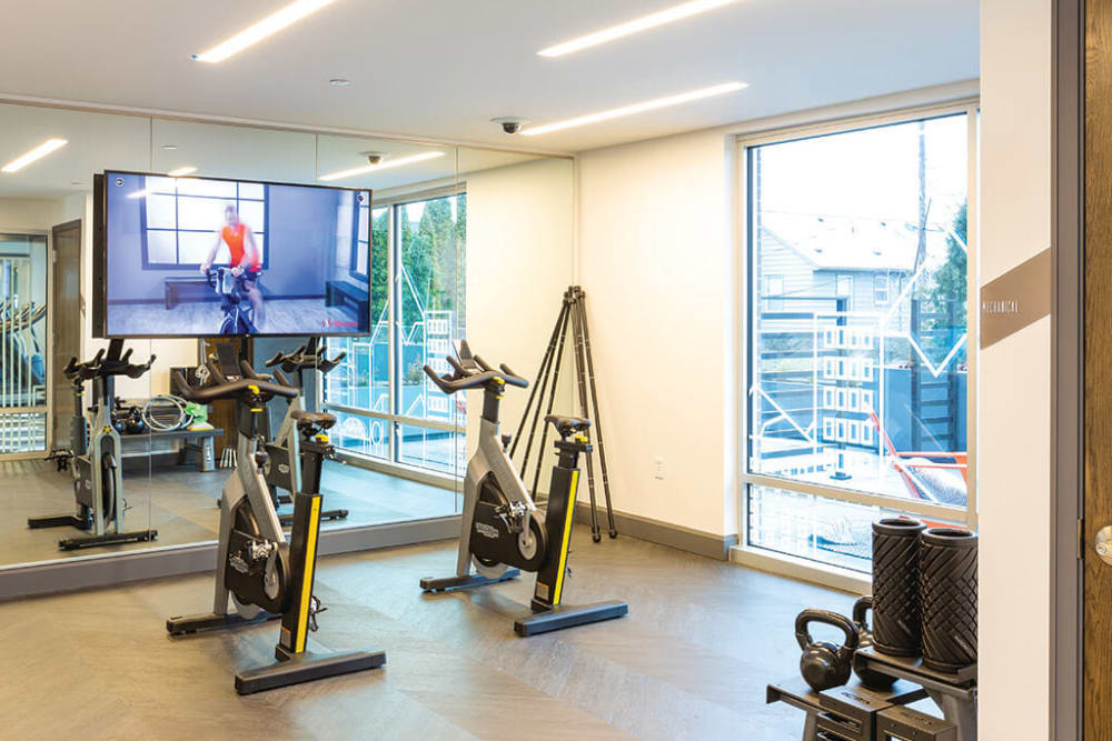Spin room in the fitness center at ArLo Apartments in Portland, Oregon