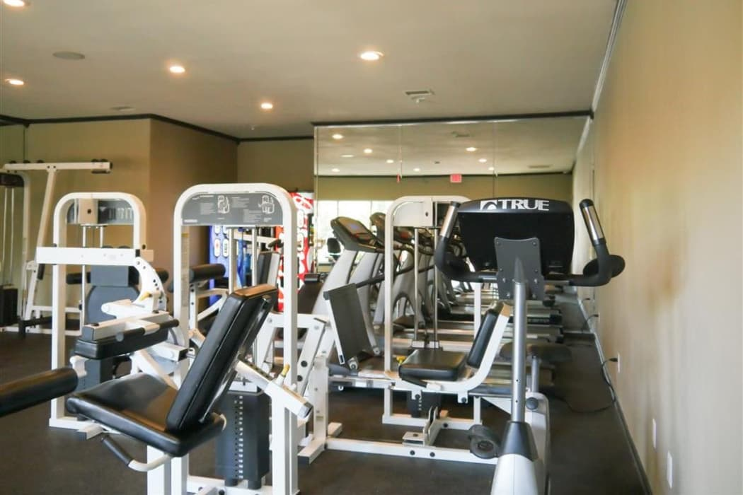 Enjoy a well-equipped fitness center at Trails of Towne Lake in Irving, Texas