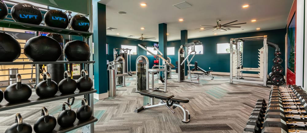 A complete fitness center at Strata Apartments in Denver, Colorado