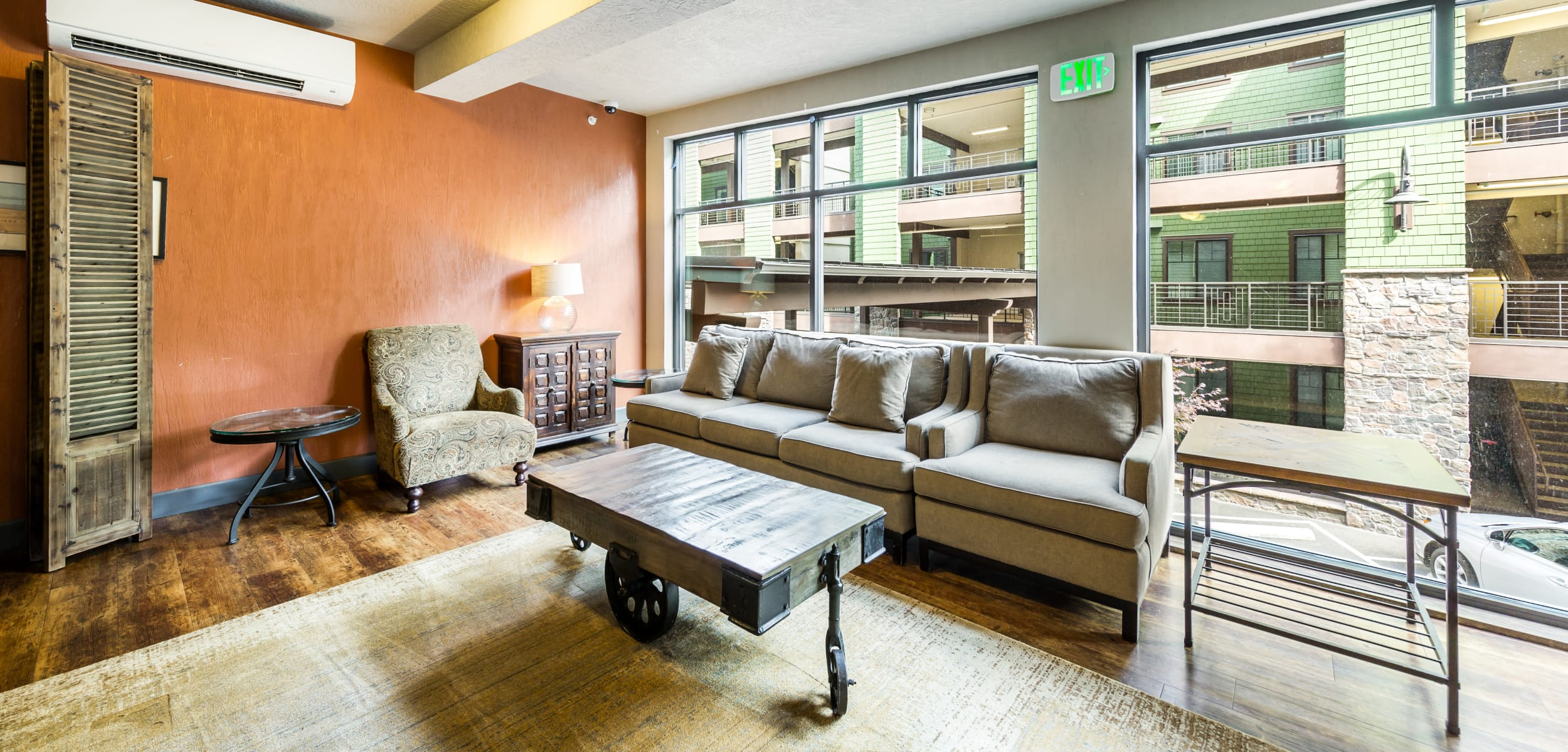 Comfy couch at Copperline at Point Ruston in Tacoma, Washington