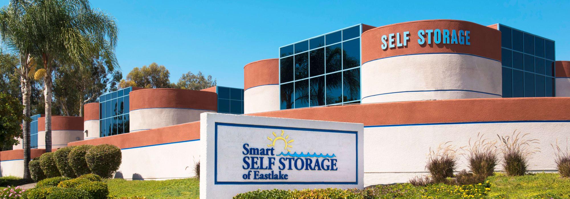 Branding on the exterior of Smart Self Storage of Eastlake in Chula Vista, California