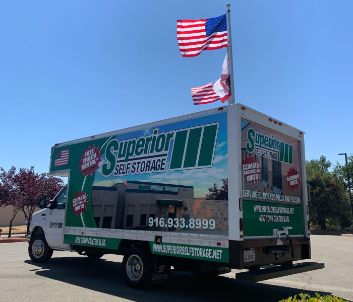 Moving truck at Superior Self Storage in El Dorado Hills, California