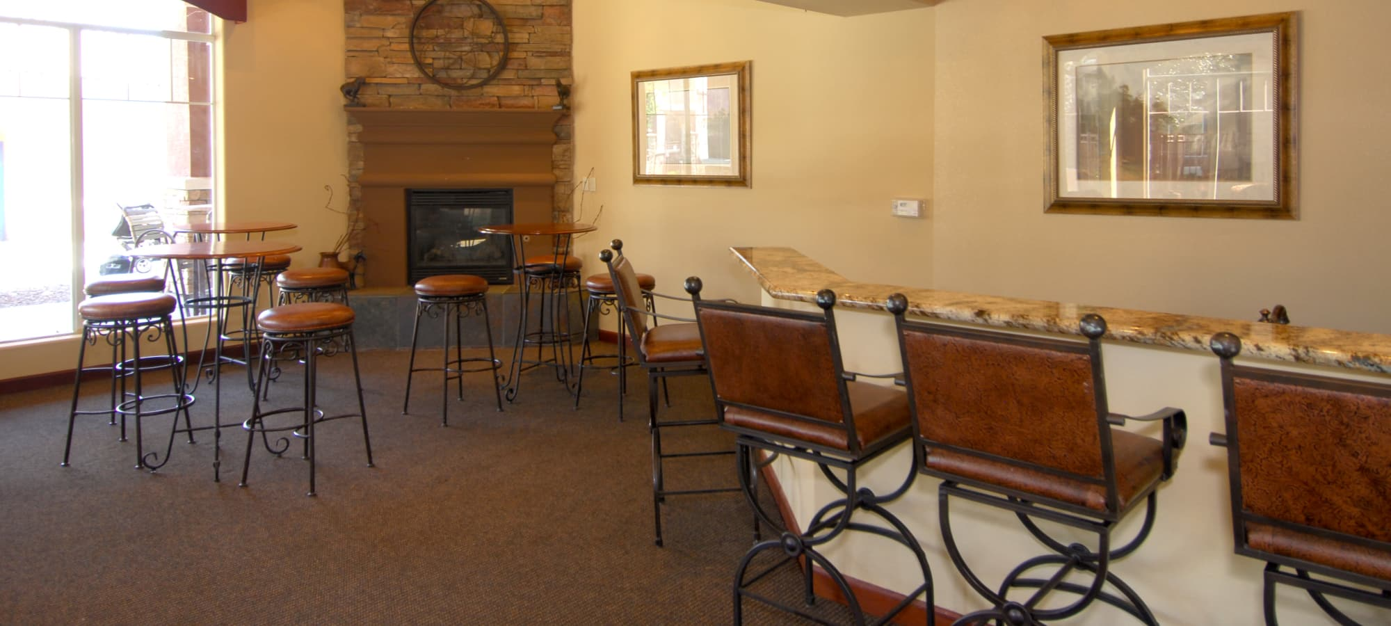 Resident clubhouse with ample seating at Remington Ranch in Litchfield Park, Arizona