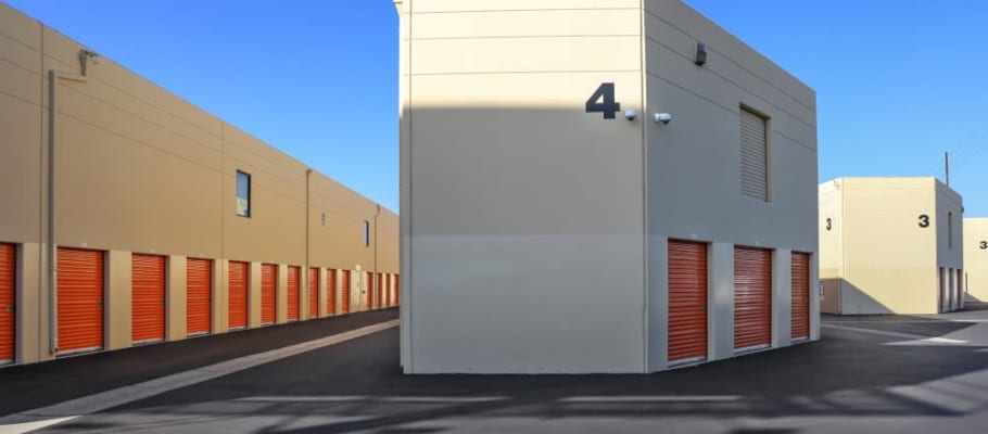 Outside storage units at A-1 Self Storage in Fountain Valley, California