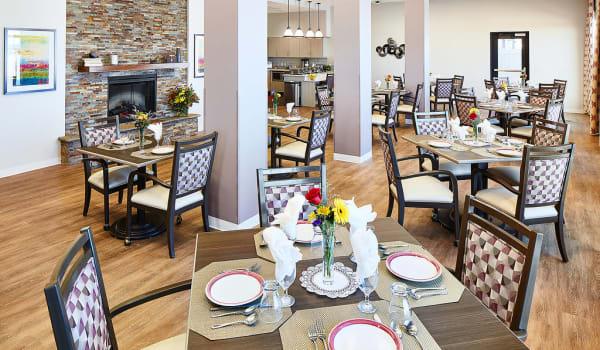 A spacious dining room at Anthology of South Jordan in South Jordan, Utah