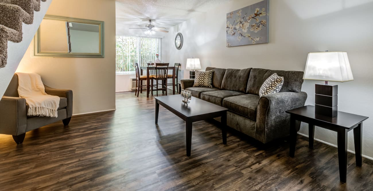 Open living space with staircase leading up to second floor at The Crossroads in Van Nuys, CA