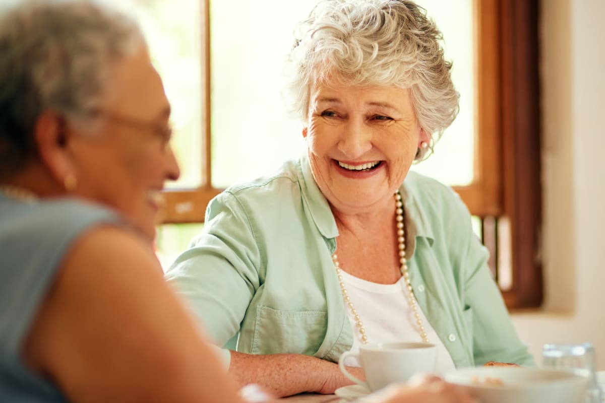 Two residents talking at Creekside Village in Ponca City, Oklahoma