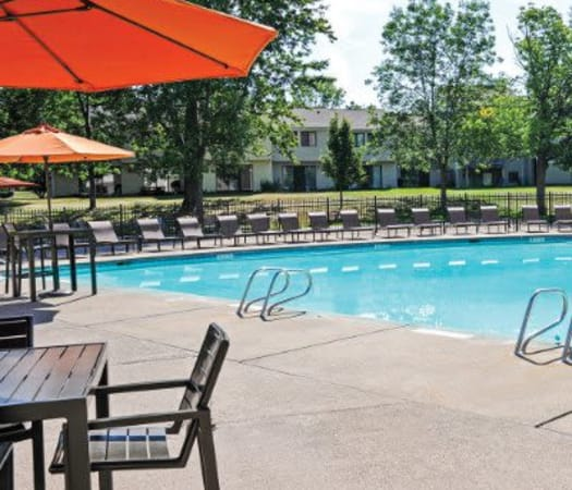 Resort-style swimming pool at Penbrooke Meadows in Penfield, New York