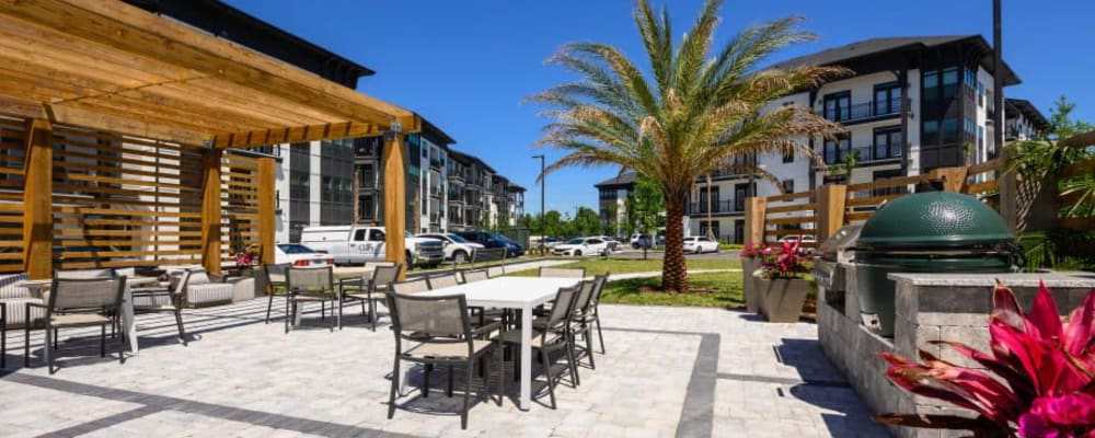 Outdoor patio of an apartment complex owned by TriBridge Residential in Atlanta, Georgia