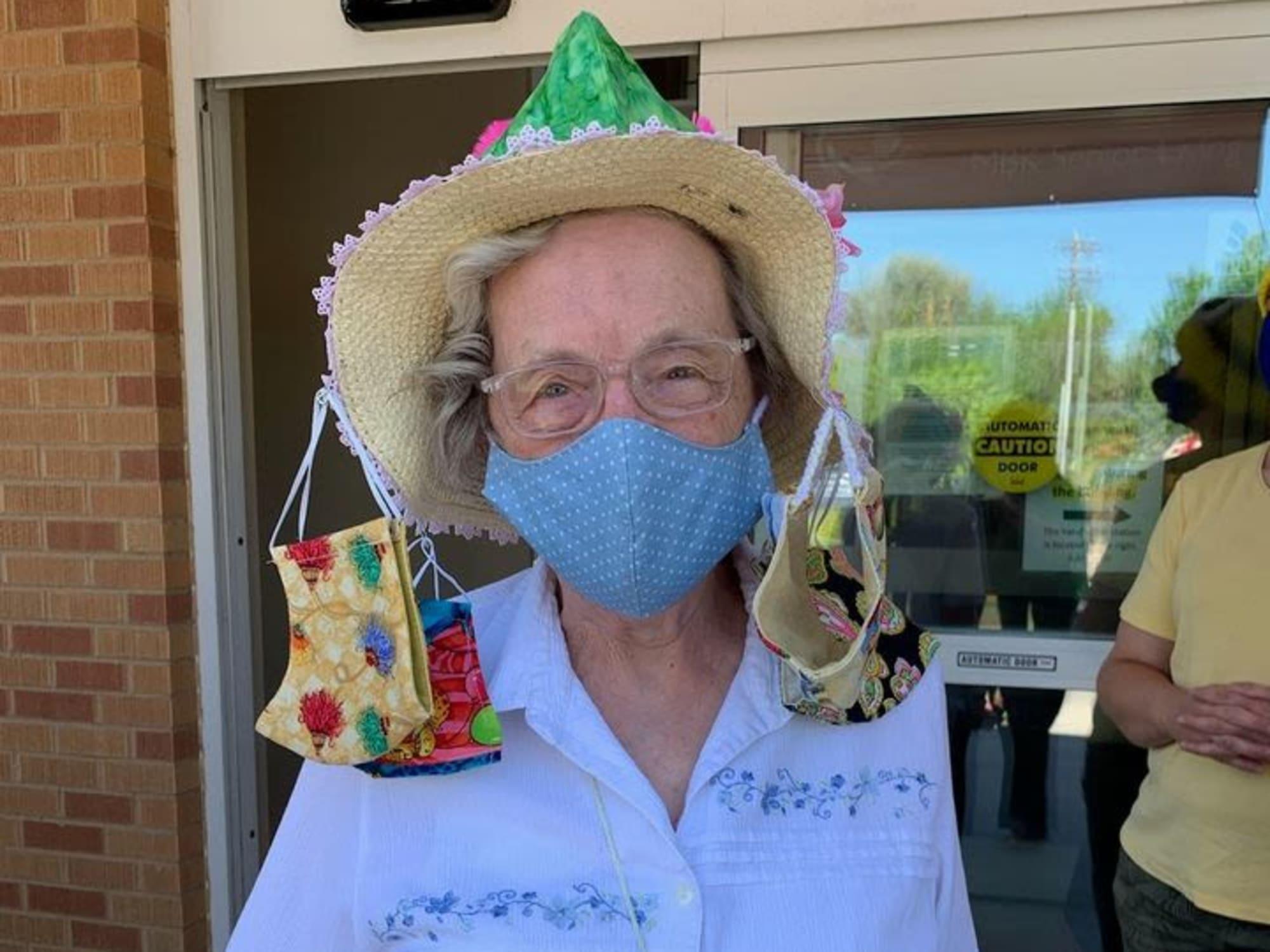 Wearing many masks at Hillcrest of Loveland in Loveland, Colorado