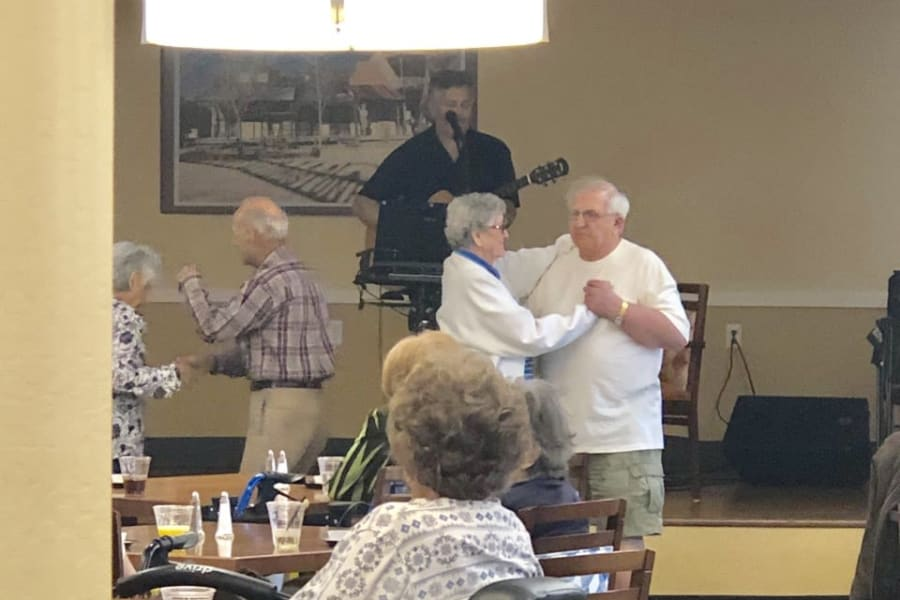 Happy hour dancing at Bella Vista Senior Living in Mesa, Arizona