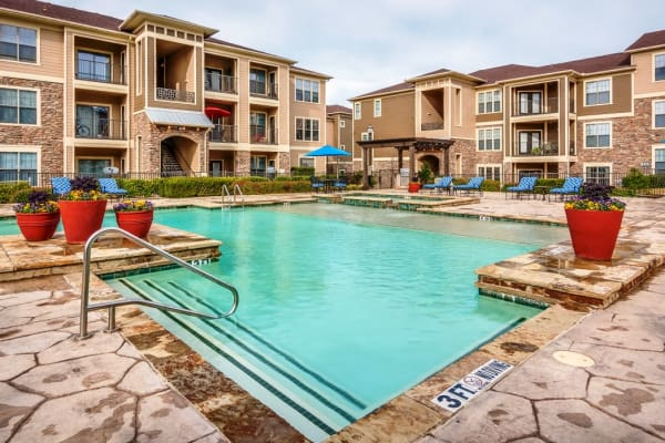 Clubhouse pool at Riverside Villas in Fort Worth, Texas