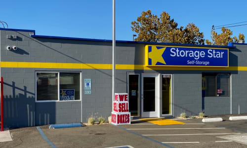 Office building at Rancho Cordova, California storage facility Exterior Storage Units