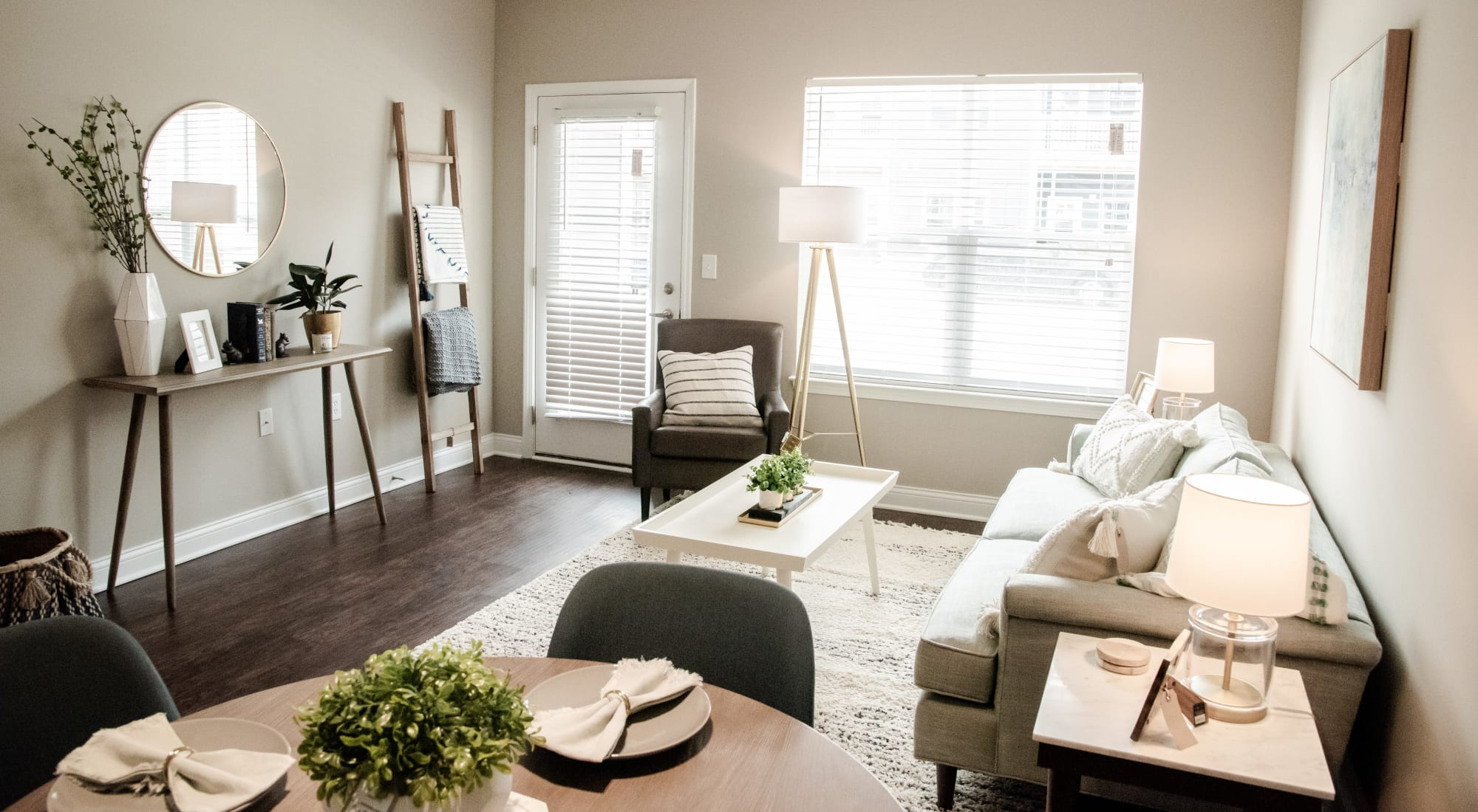 Model home's living area at Bonterra Apartments in Fort Wayne, Indiana